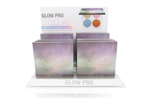 Un display blanco contiendo 12 unidades de City Color Paleta de Resaltador Glow Pro